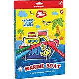 Erich Krause Игровой 3D пазл для раскрашивания Artberry Marine Boat (6 фломастеров+2 карты с фигурами для сборки)
