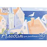 Полиграфика Альбом для рисования А4 30л На крыше, клеевое скрепление