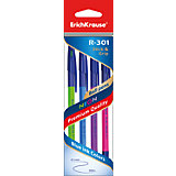 Erich Krause Ручка шариковая R-301 NEON 0,7мм цветные Stick&Grip в наборе из 4 штук