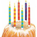 Свечи для торта в полоску, 12 шт, 12 подсвечн., парафин, блистер
