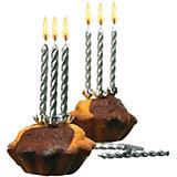 Свечи для торта, 10 шт, 10 подсвечн., серебро, парафин