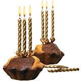 Свечи для торта, 10 шт, 10 подсвечн., золото, парафин