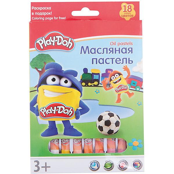 Play-Doh Масляная пастель 18 цветов в картонной коробке + 2 раскраски Размер 19,8 х 13 х 1,8 см.