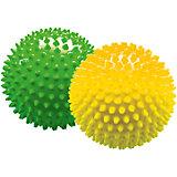 Набор мячей ёжиков, желтый и зеленый, 12 см, МалышОК