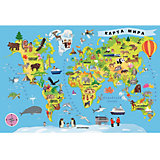 Пазлы Карта мира, 100 деталей, Trefl