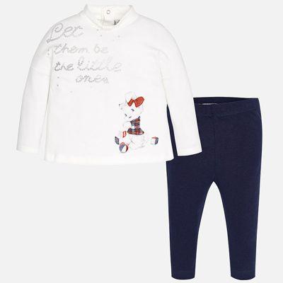 Комплект: футболка с длинным рукавом и леггинсы Mayoral для девочки - синий