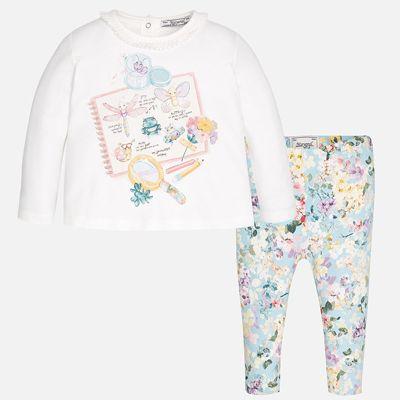 Комплект: футболка с длинным рукавом и леггинсы Mayoral для девочки - серый