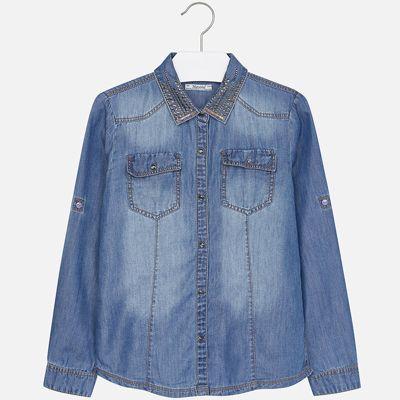 Рубашка Mayoral для девочки - синий деним