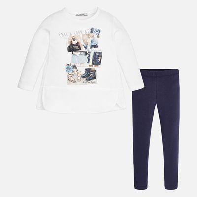 Комплект: блузка и леггинсы для девочки Mayoral - синий