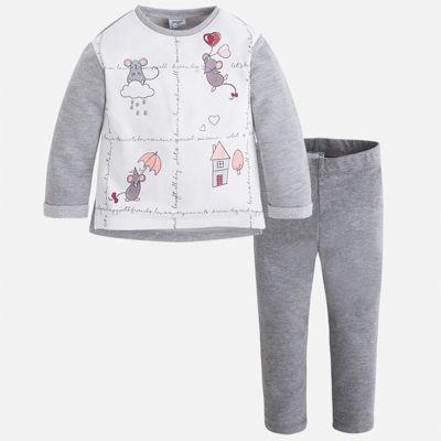 Комплект: футболка с длинным рукавом и леггинсы Mayoral для девочки - серебряный