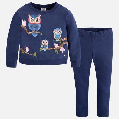 Комплект: блузка и леггинсы Mayoral для девочки - темно-синий
