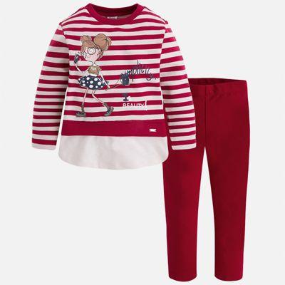 Комплект: футболка с длинным рукавом и леггинсы для девочки Mayoral - красный