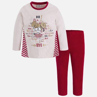 Комплект: футболка с длинным рукавом и леггинсы Mayoral для девочки - красный