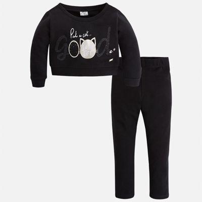 Комплект: блузка и леггинсы Mayoral для девочки - черный