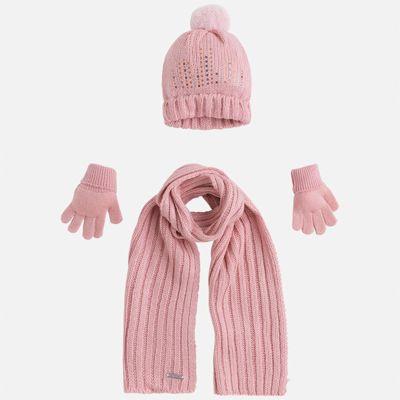 Комплект: шапка, шарф и перчатки для девочки Mayoral - розовый