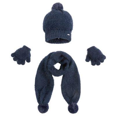 Комплект: шапка, шарф и перчатки для девочки Mayoral - темно-синий
