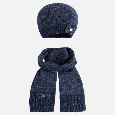 Комплект: шапка и шарф Mayoral для девочки - синий