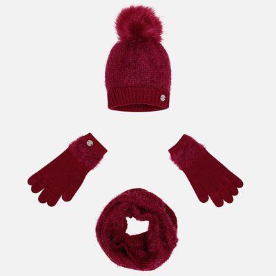 Комплект: шапка, шарф и перчатки Mayoral для девочки - красный