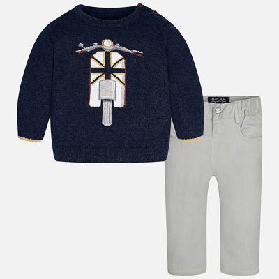 Комплект: свитер и брюки для мальчика Mayoral - сине-серый