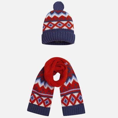 Комплект: шапка и шарф Mayoral для мальчика - бежевый