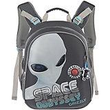 Рюкзак школьный Grizzly, серый - белый