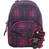 Рюкзак школьный Grizzly, клетка фуксия