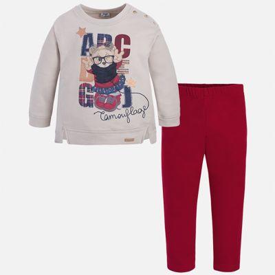 Комплект: блузка и леггинсы для девочки Mayoral - красный/белый