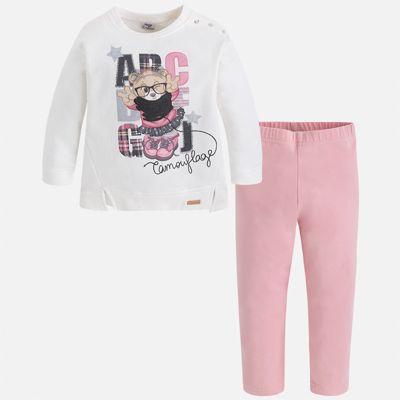Комплект: блузка и леггинсы для девочки Mayoral - розовый/белый