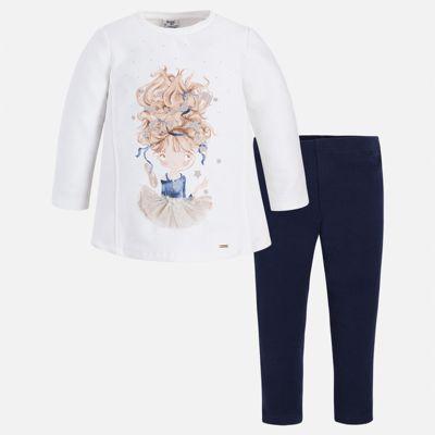 Комплект: толстовка и леггинсы для девочки Mayoral - синий/белый