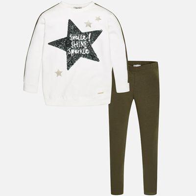 Комплект: блузка и леггинсы для девочки Mayoral - зеленый