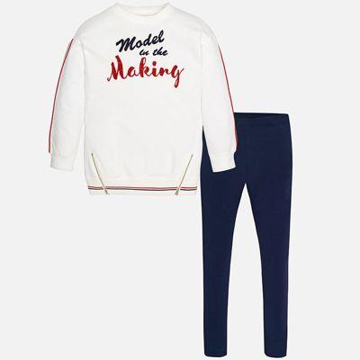 Комплект: блузка и леггинсы для девочки Mayoral - синий/белый