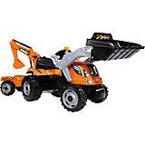 Трактор педальный строительный с 2-мя ковшами и прицепами, 182*44*63,5 см, Smoby