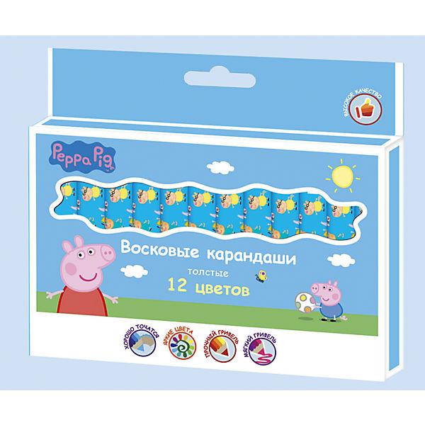 """Восковые карандаши: толстые, 12 цветов, """"Свинка Пеппа"""""""
