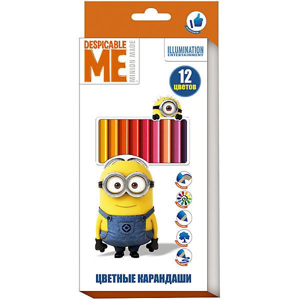 """Цветные карандаши, 12 цветов, """"Миньоны"""""""