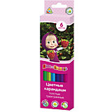 """Цветные карандаши: толстые трехгранные, 6 цветов, """"Маша и Медведь"""""""