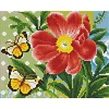 Мозаичная картина на холсте 20х25см Бабочки и цветок Белоснежка