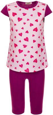 Комплект: футболка и бриджи M&D для девочки - розовый