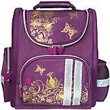 Ранец жесткокаркасный BRAUBERG для начальной школы, девочка, Цветы, 16 литров, 28*14*32 см