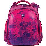 Ранец жесткокаркасный BRAUBERG, для средней школы, 2 отделения, девочка,Пузыри, 13 литров,38*28*12см