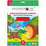 Картон цветной гравюрный голографический А4 4 листа 4 цвета Greenwich Line