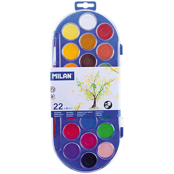 Акварель 22 цвета Milan, с кистью