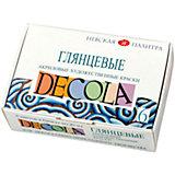 Краски акриловые 6цветов 20мл Decola, глянцевые