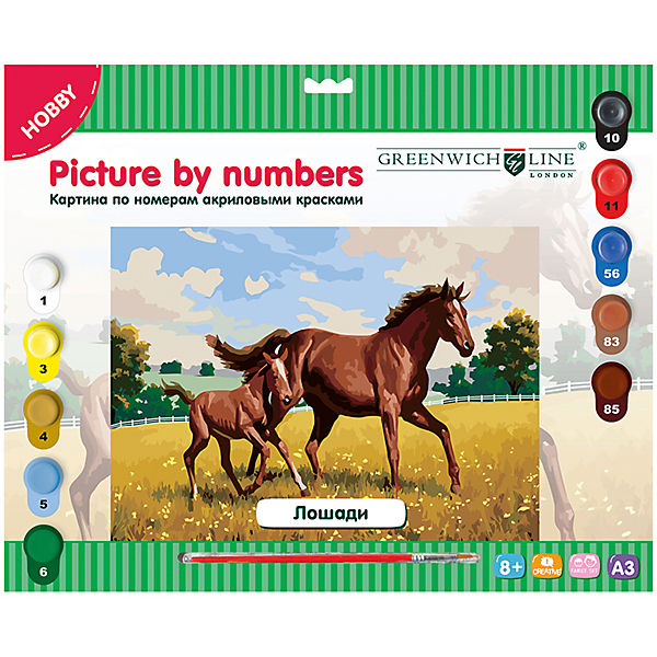 "Картина по номерам А3 ""Лошади"" Greenwich Line"