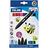 """Фломастеры двусторонние """"640 Maxi Bi-Colour"""" 16 цветов 8 шт Milan, утолщенные"""