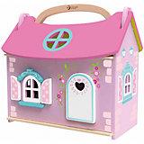 """Деревянный домик-чемодан с мебелью и куклой Classic World """"Домик маленькой принцессы"""""""