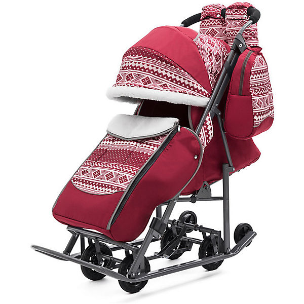 Санки-коляска ABC Academy Скандинавия на тёмно-серой раме, бордовый