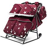Санки-коляска для двойни ABC Аcademy Pikate Твин Звёзды на тёмно-серой раме, бордовый