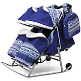 Санки-коляска для двойни ABC Academy 2В Твин Скандинавия на серой раме, синий