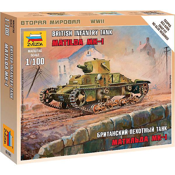"""Сборная модель Звезда """"Британский танк Матильда Mk-1"""", 1:100 (сборка без клея)"""