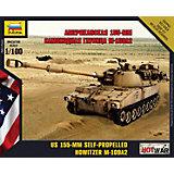 """Сборная модель Звезда """"Американская 155-мм самоходная гаубица М-109А2"""", 1:100 (сборка без клея)"""